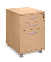 Beech three drawer mobile pedestal
