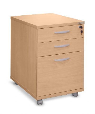 Beech three drawer mobile pedestal