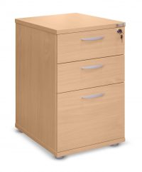 Beech desk high 600 deep pedestal