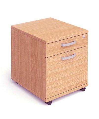 Beech two drawer mobile pedestal
