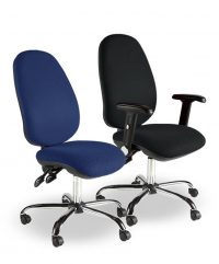 Chrome heavy-duty operator chairs