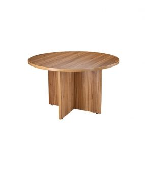 Circular executive conference table in walnut
