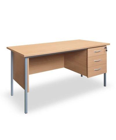 Beech 1500mm desk with three drawer storage
