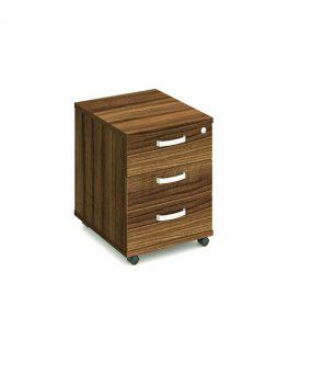 Walnut three drawer mobile pedestal.