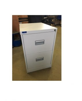 Two drawer grey filing cabinet