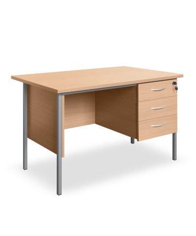 Beech 1200mm desk with three drawer storage