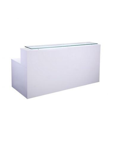 White high gloss reception counter