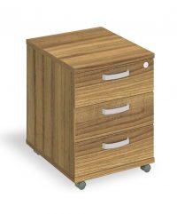Walnut three drawer mobile pedestal