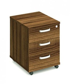 Walnut three drawer mobile pedestal