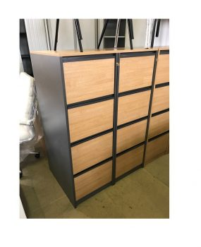 Four drawer wooden filing cabinet