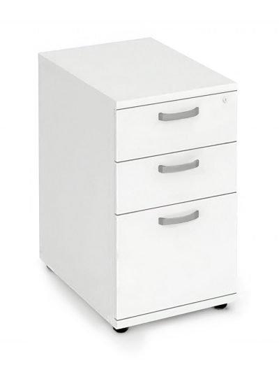 White desk high 600mm deep pedestal