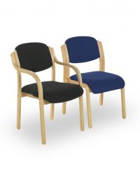 Sandy wood framed side chairs