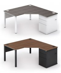 Angled radial combi desk with built-in drawer storage