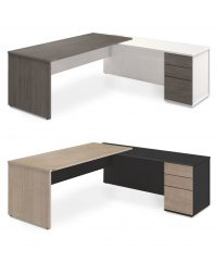 Executive radial workstation with drawer storage
