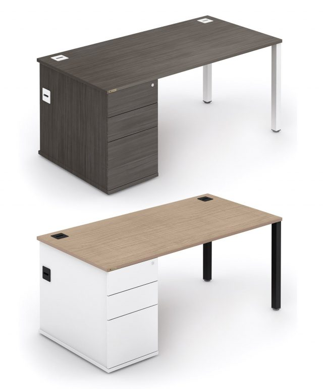 Rectangular combi workstation with built-in storage