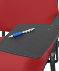 Close up of writing tablet attached to chair