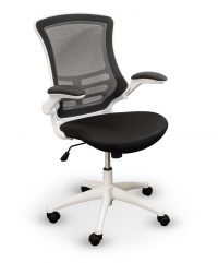 Black+white mesh operator chair