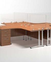 Virus shielding desk mounted screens on wooden furniture