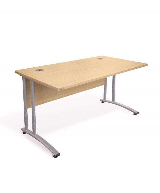 Gravity cantilever rectangular desk