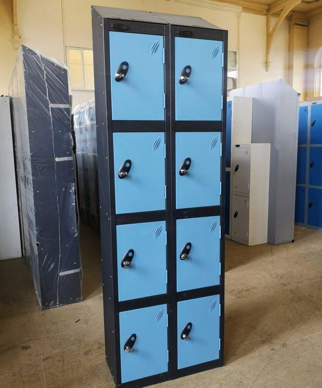 Four-door blue/black lockers – nests of 2 (slight seconds)