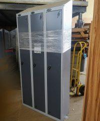 Single door grey lockers – nests of 3 (slight seconds)