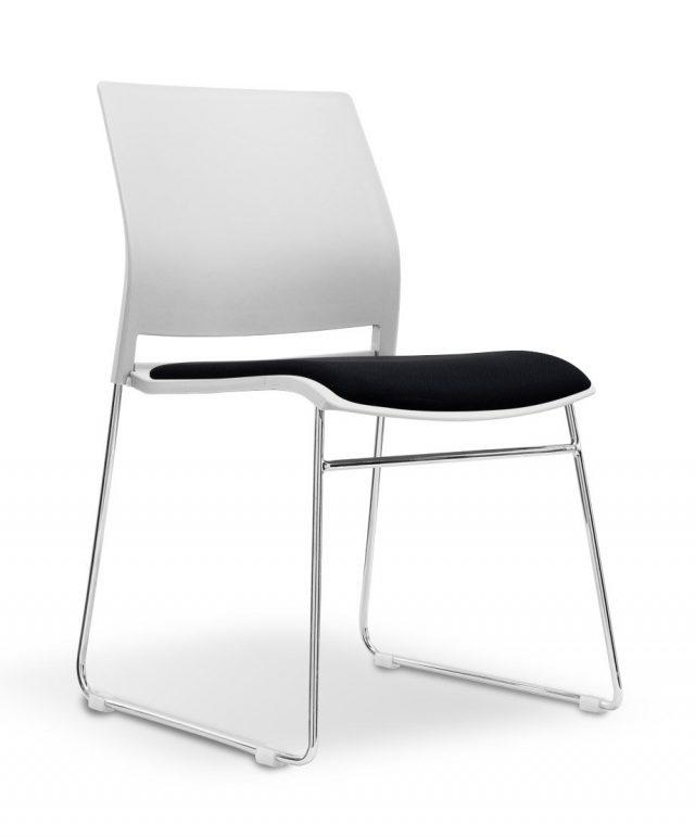 Stanza white/black visitors chair