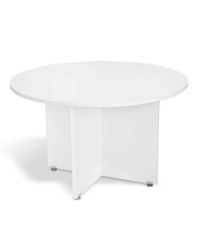 White 1200mm circular conference table