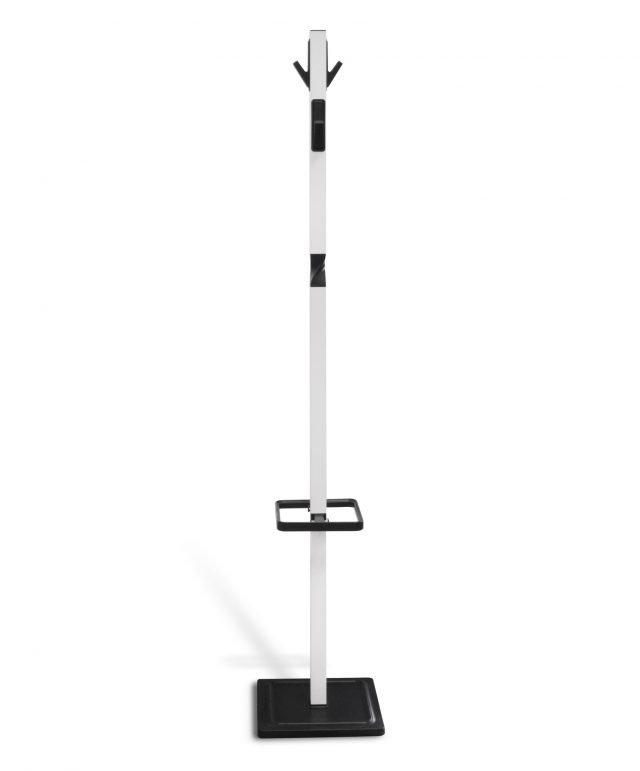 Hat and coat stand in white